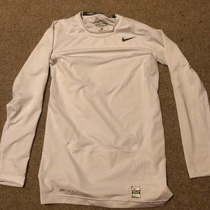White Nike Pro Combat Long Sleeve